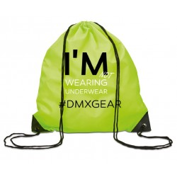 DMXGEAR drawstring backpack yellow-green colored  I'm not wearing underwear