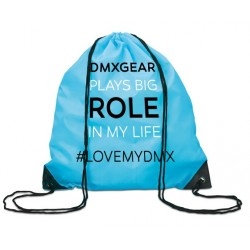 DMXGEAR drawstring backpack turquoise colored DMXgear plays big role in my life