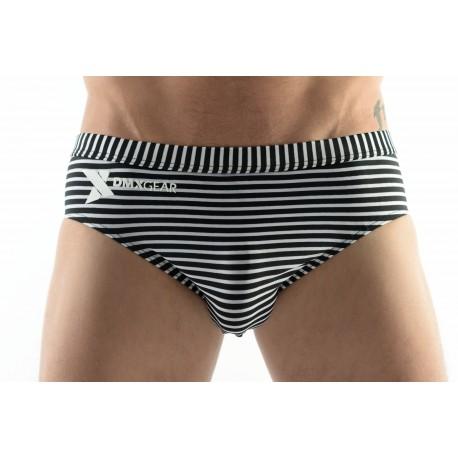DMXGEAR men's swim brief white with black stripes Sun & Fun