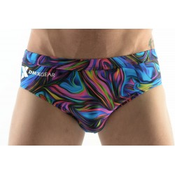 DMXGEAR men's swim brief blue paisley multicolor Sun & Fun