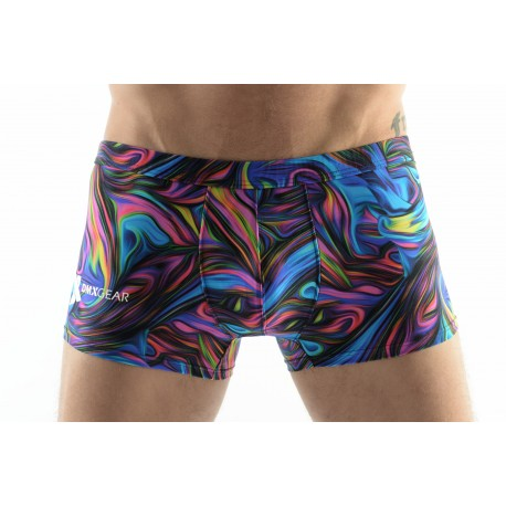 DMXGEAR men's swim boxer shorts blue paisley multicolor Sun & Fun