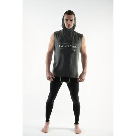 DMXGEAR Herren Ärmellose Shirt mit Kapuze Summer Vibes PURE SPORT in Grau