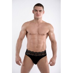 DMXGEAR luxury black men's thong with lace belt Lace