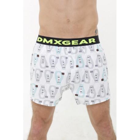 DMXGEAR luxury men's white trunks with Bears Tartan