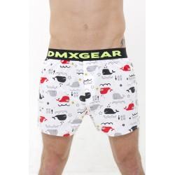 DMXGEAR Luxus Top Männer Boxer Shorts Weiss mit Walen Tartan