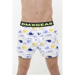 DMXGEAR Luxus Top Männer Boxer Shorts Weiss mit blauen Walen Tartan