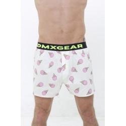 Les shorts DMXGEAR comfortable de luxe avec le motif de la glace rose le fond jaune
