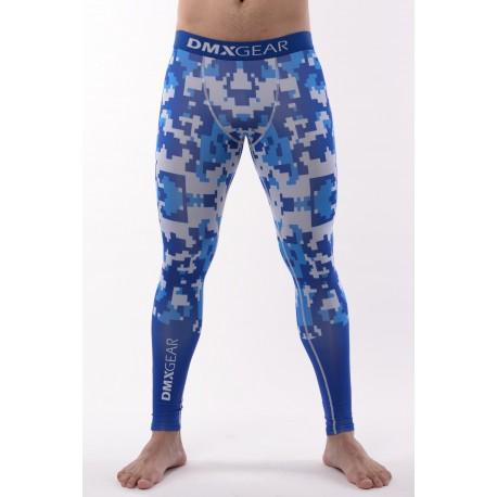 DMXGEAR Men's elastic compression leggings PRO ATHLETE Multicolor Grey/Blue