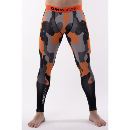 DMXGEAR Men's elastic compression leggings PRO ATHLETE Multicolor Grey/Orange