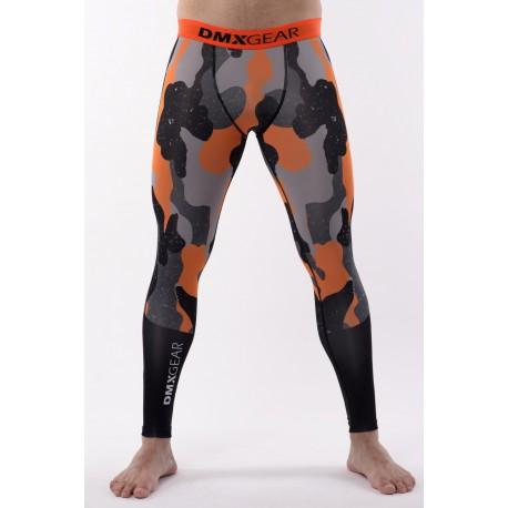 DMXGEAR Men's elastic compression leggings PRO ATHLETE Multicolor Grey/Orange