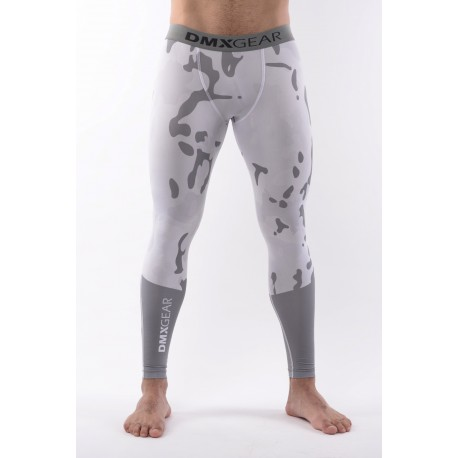 DMXGEAR Men's elastic compression leggings PRO ATHLETE Multicolor Grey/White