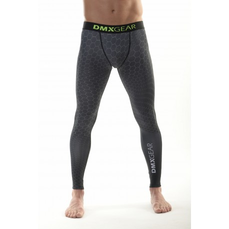 DMXGEAR Men's elastic compression leggings PRO COMBAT II. Grey hexagon