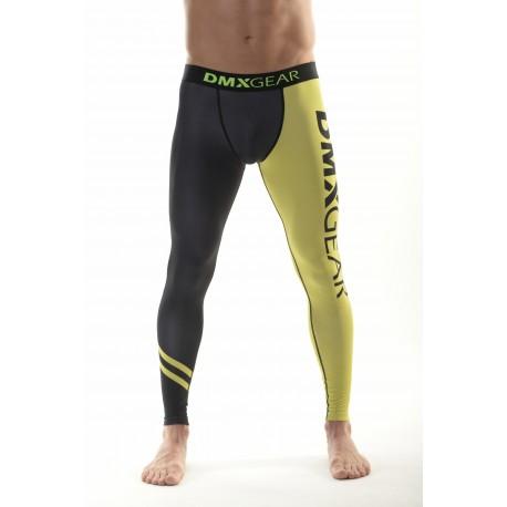 DMXGEAR Men's elastic compression leggings PRO COMBAT II. Black-yellow