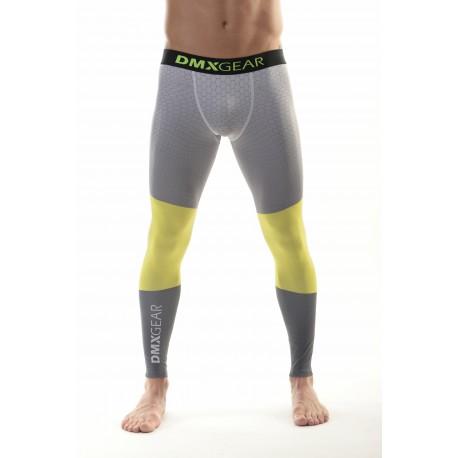 DMXGEAR Men's elastic compression leggings PRO COMBAT II. Grey hexagon
